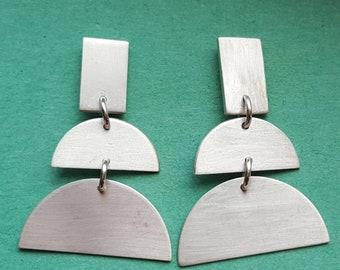 Geometric, sterling silver earrings