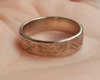 Handmade Textured Bronze Band Ring