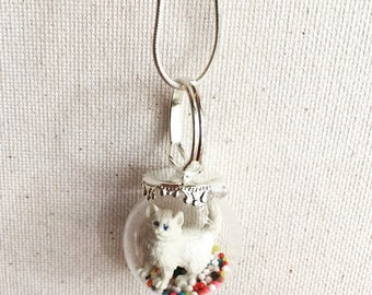White cat sprinkles rainbow statement necklace