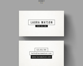 Simple business card design elegant template white black etsy minimalistic black and white business card template premade simple business card design modern calling card creative contact card flashek Choice Image