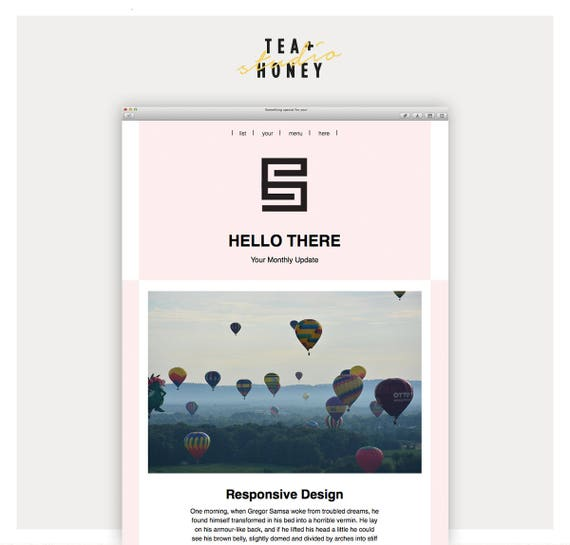 email newsletter template mailchimp customizable pink etsy