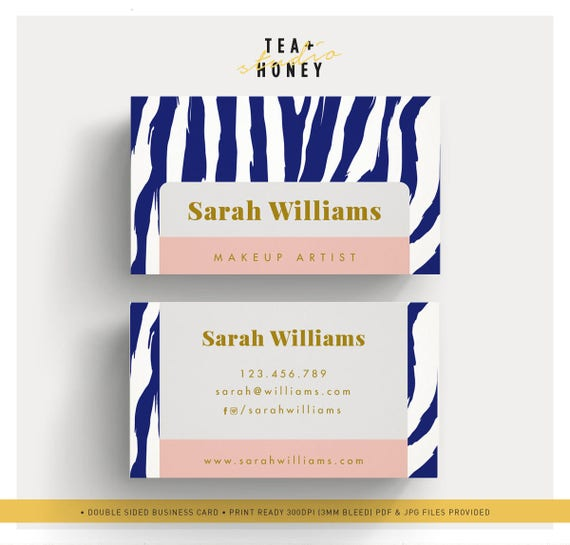 Visitenkarte Vorlage Zebra Muster Hintergrund Kosmetikerin Branding Make Up Artist Briefpapier Gold Visitenkarte Moderne Vorgefertigte