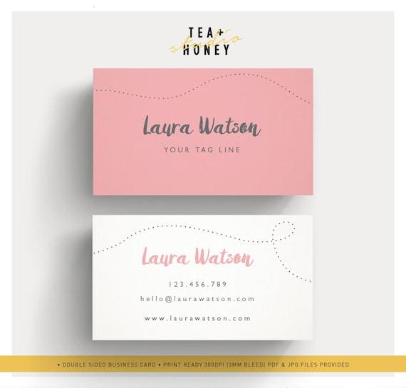 Vorgefertigte Visitenkarten Moderne Rosa Karte Lustige Namen Karte Feminines Design Einzigartige Karte Vorlage Verspielte Briefpapier