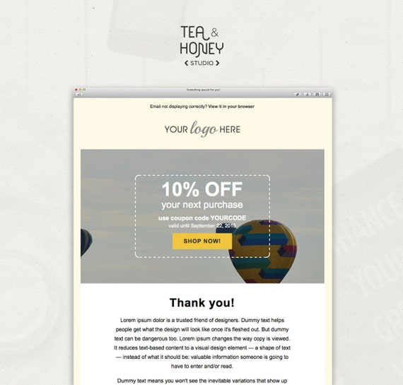 Email Newsletter Template Mailchimp Compatible Html Coded Etsy