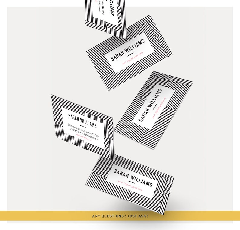Business Card Template, Stripes Pattern Background, Calling Card, Modern  Design, Stripes Background, Name Card, Pattern Lines Background