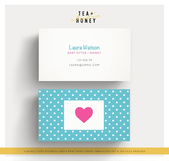 Babysitter business card nanny branding premade cute design etsy image 0 colourmoves