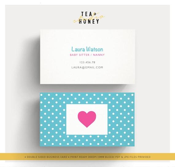 Babysitter Business Card Nanny Branding Premade Cute Design Etsy