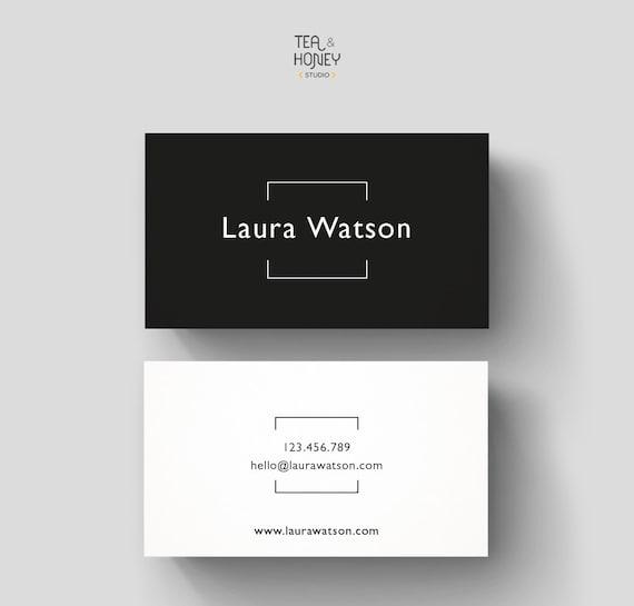 Minimalistic business card premade design black white reheart Choice Image