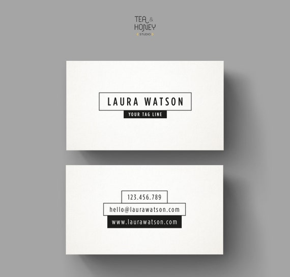 Minimalistic black and white business card template premade etsy image 0 fbccfo Choice Image