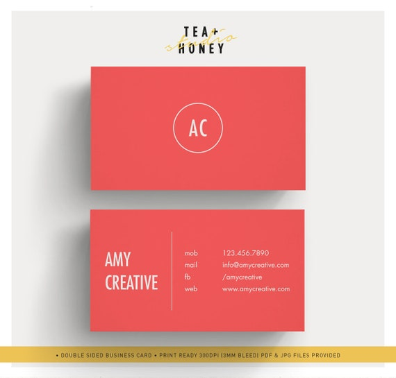 Red Business Card Simple Calling Card Template Premade Name Etsy