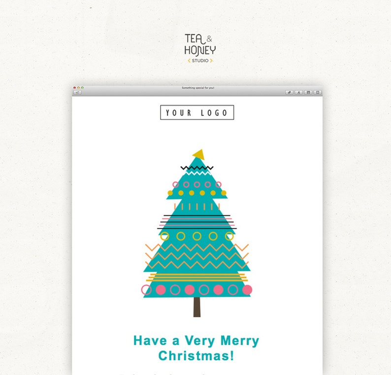 Christmas Tree Mailchimp Email Template with FREE modern image 0