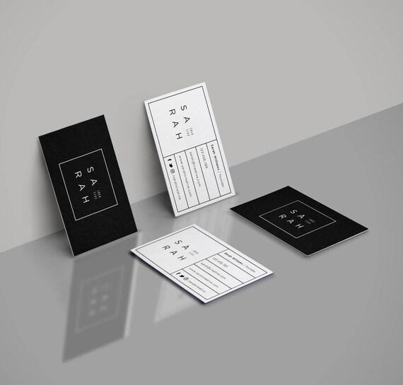 Carte De Visite Professionnelle Design Noir Et Blanc Personnalisable Nom Du Contact Petite Entreprise