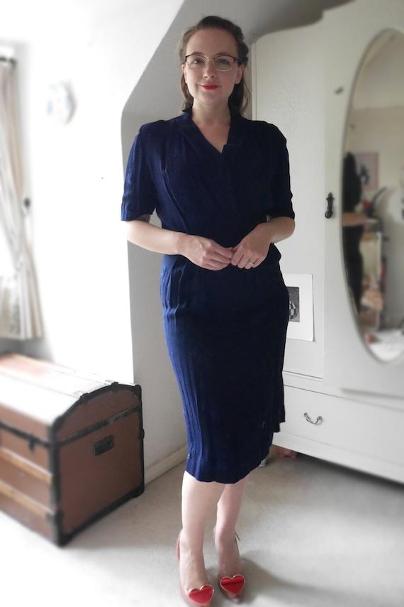 1950s Blue Wiggle Dress