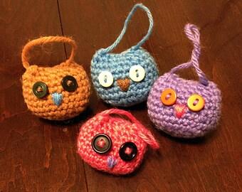 Crochet Owl Ornaments (Set of 4-5)