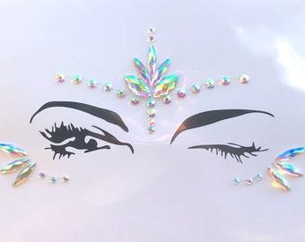 Festival Makeup Face Jewels Gems EDC Burning Man Metallic Tattoo Sticker  Glitter Shimmer Gemstones Playa Rave Outfits Holographic 05508f6ebfd1
