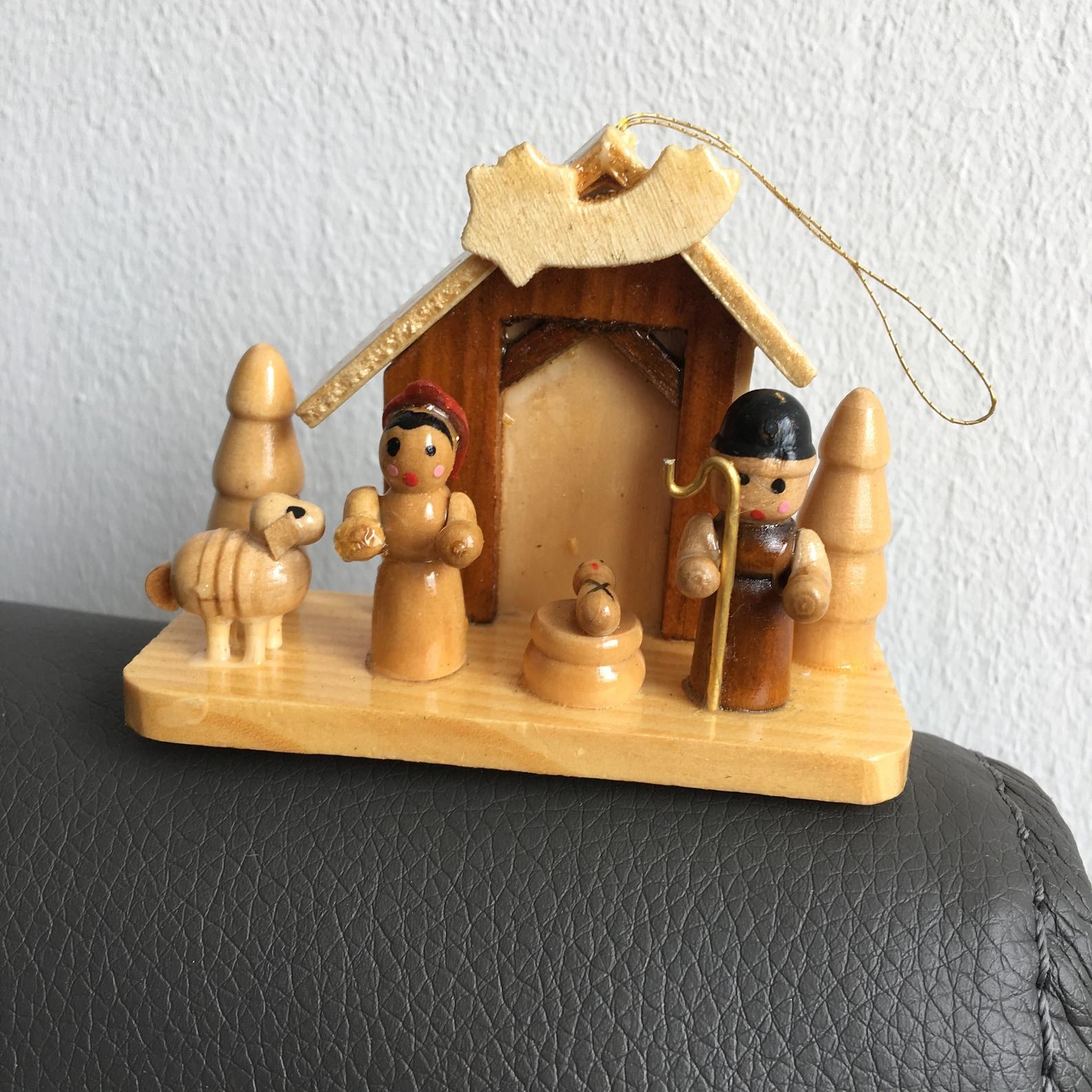 Vintage Wooden Nativity Scene Christmas Tree Ornament Toys Germany Crib