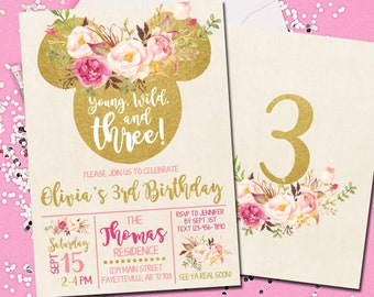 Minnie Mouse Birthday Invitation 3rd Boho Young Wild And Three Pink Gold 5x7