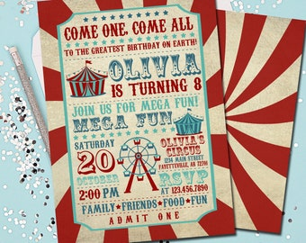 Circus Birthday Invitation Carnival Party Vintage Printable 5x7