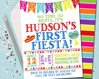 Fiesta 1st Birthday Invitation Firsta Party First Mexican Printable 5x7