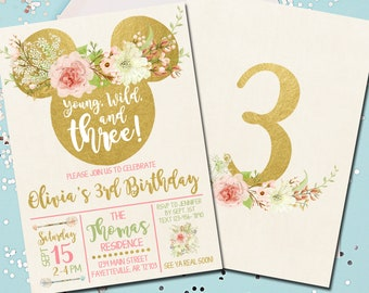 Minnie Mouse Birthday Invitation 3rd Young Wild And Three Pink Gold Boho 5x7