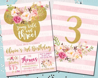 Minnie Mouse Invitation Boho 3rd Birthday Young Wild And Three Pink Gold Blush 5x7