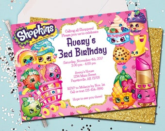 Shopkins Invitation Birthday Gold Printable 5x7