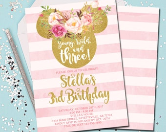 Minnie Mouse Birthday Invitation 3rd Young Wild And Three Pink Gold Boho Tribal 5x7