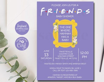 Instant Download Digital File Invitation Vertical Printable Templett DIY #10 Friends Theme Baby Shower- It/'s A Boy