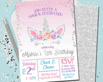 Unicorn Birthday Invitation Unicorns Party Silver Printed Invitations Printable 5x7