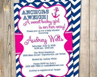 girl nautical invite etsy