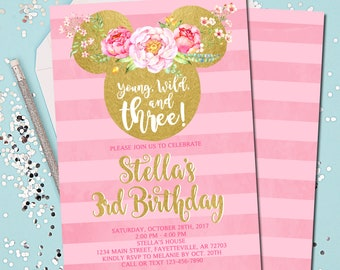 Minnie Mouse Birthday Invitation 3rd Young Wild And Three Pink Gold Printable 5x7