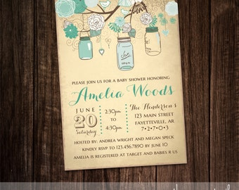 mason jar bridal shower invitation country vintage rustic bridal shower invite wedding shower printable