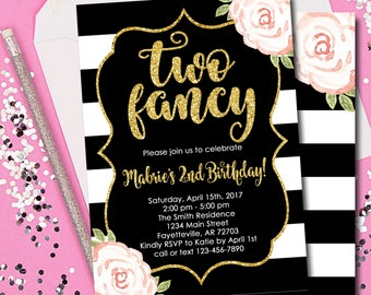 Two Fancy Invitation 2nd Birthday Pink And Gold Black 2 Year Old Printable 5x7