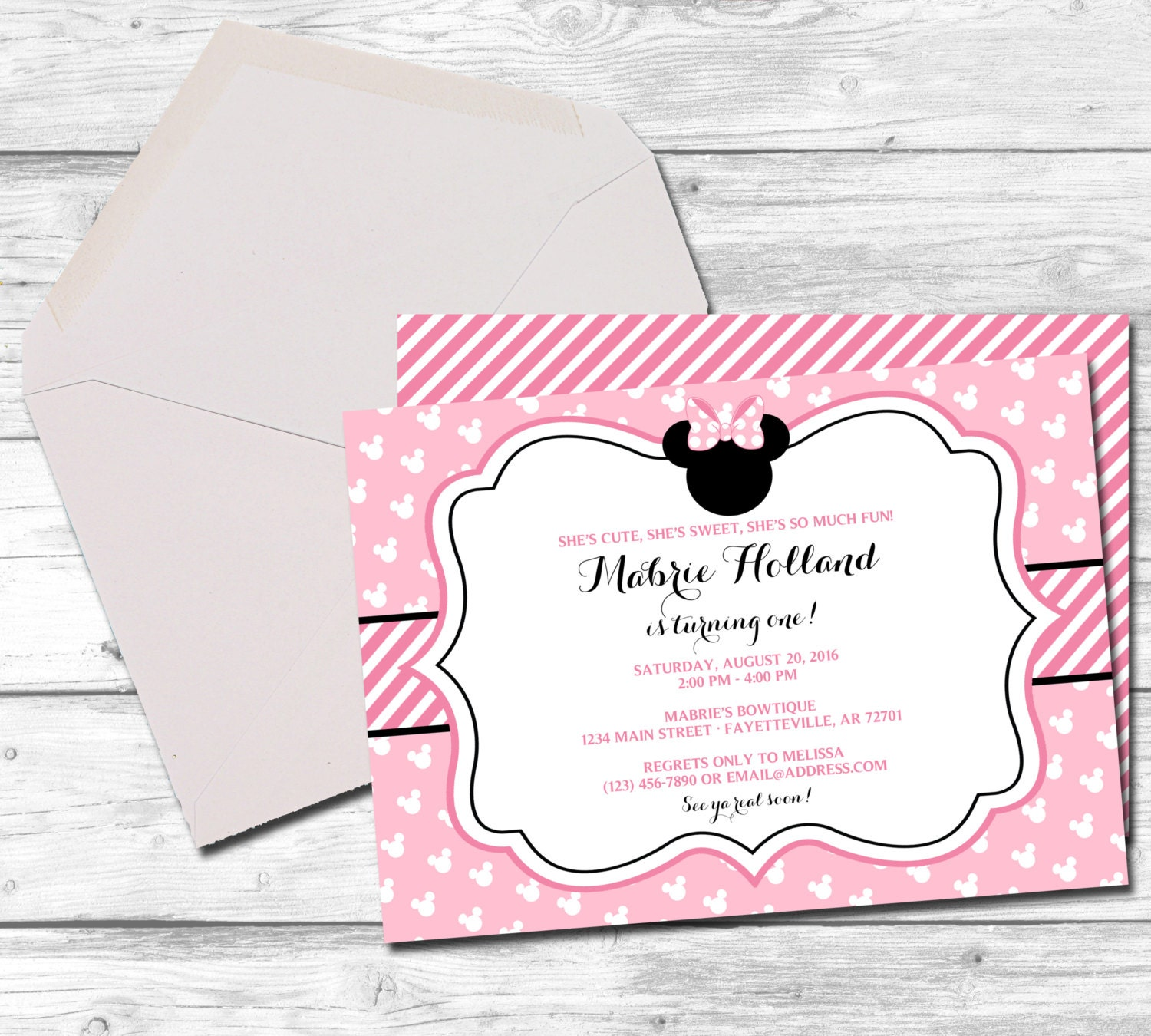 Minnie Mouse Minnie Mouse Invitation Minnie Mouse Birthday