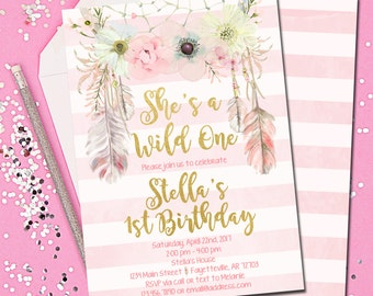Boho Birthday Invitation, Tribal Birthday Invitation, Wild One, Invitation, Birthday Invitation, Tribal, Dream Catcher, 5x7