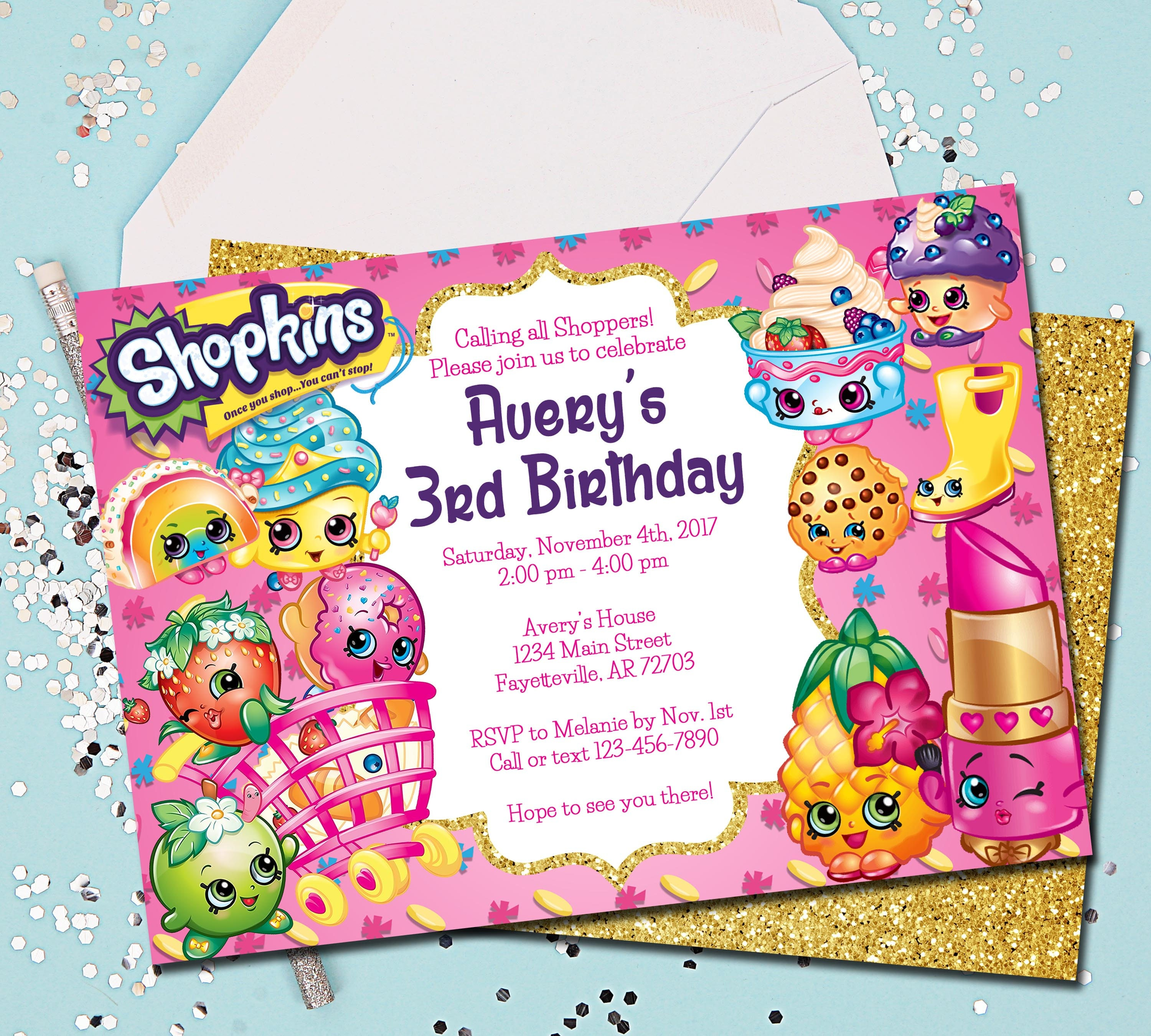Shopkins Invitation Birthday