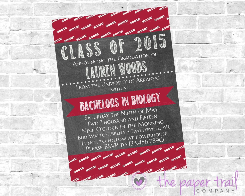 Graduation Announcement Arkansas Razorbacks College | Etsy
