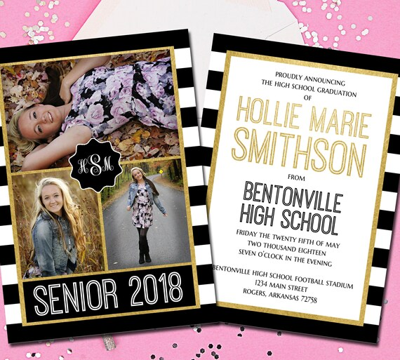 High School Graduation Announcement Senior Graduation Etsy