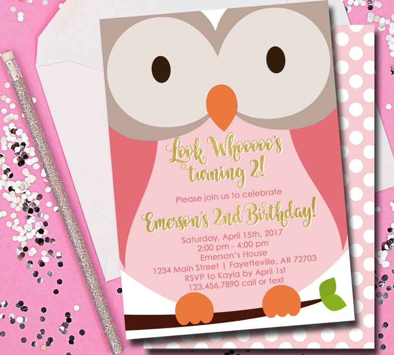 Owl Birthday Invitation Pink And Gold