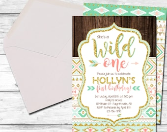 Boho Birthday Invitation, Tribal Birthday Invitation, Wild One, Invitation, Birthday Invitation, Tribal, Aztec, Boho, Printable 5x7