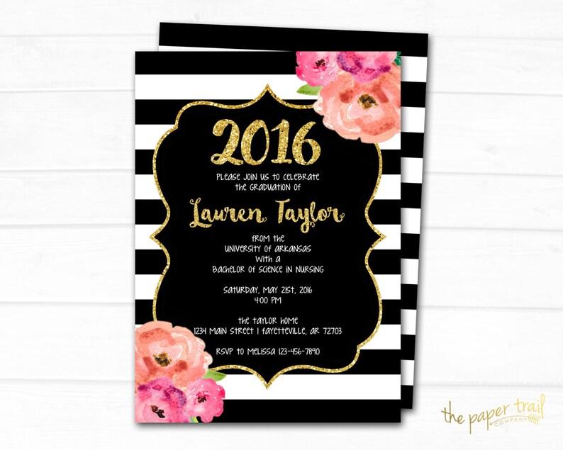 Printable 5x7 Black and Gold High School Graduation Announcement Graduation Pink Floral College Graduation Invitation