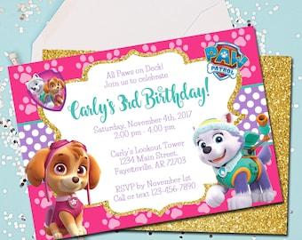 Girl PAW PATROL Invitation, Paw Patrol Birthday Invitation, Skye Invitation, Birthday Invite, Paw Patrol, Invitation, Pink, Printable, 5x7