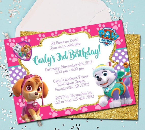 Girl PAW PATROL Invitation Paw Patrol Birthday