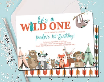 Wild One Invitation, Wild One Birthday Invitation, Tribal, Woodland, Wild One, Birthday Invitation, 1st Birthday, Printable 5x7