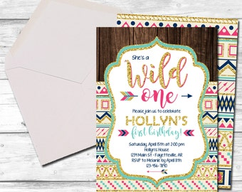Wild One Birthday Invitation, Wild One, Tribal Birthday Invitation, Aztec, Tribal, 1st Birthday Invitation, First Birthday, Printable 5x7