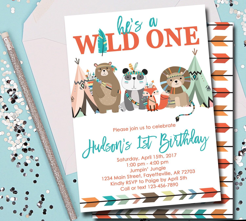 Wild One Invitation Wild One Birthday Invitation Tribal | Etsy