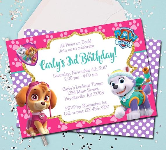 Girl PAW PATROL Invitation Paw Patrol Birthday