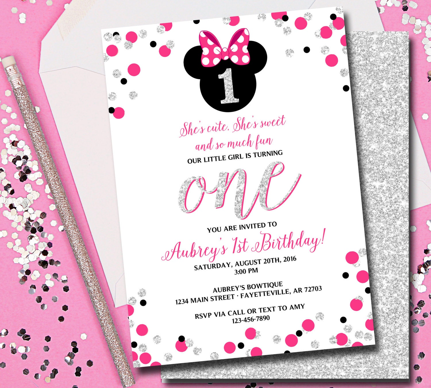 Minnie Mouse Invitation Minnie Mouse Birthday Birthday | Etsy