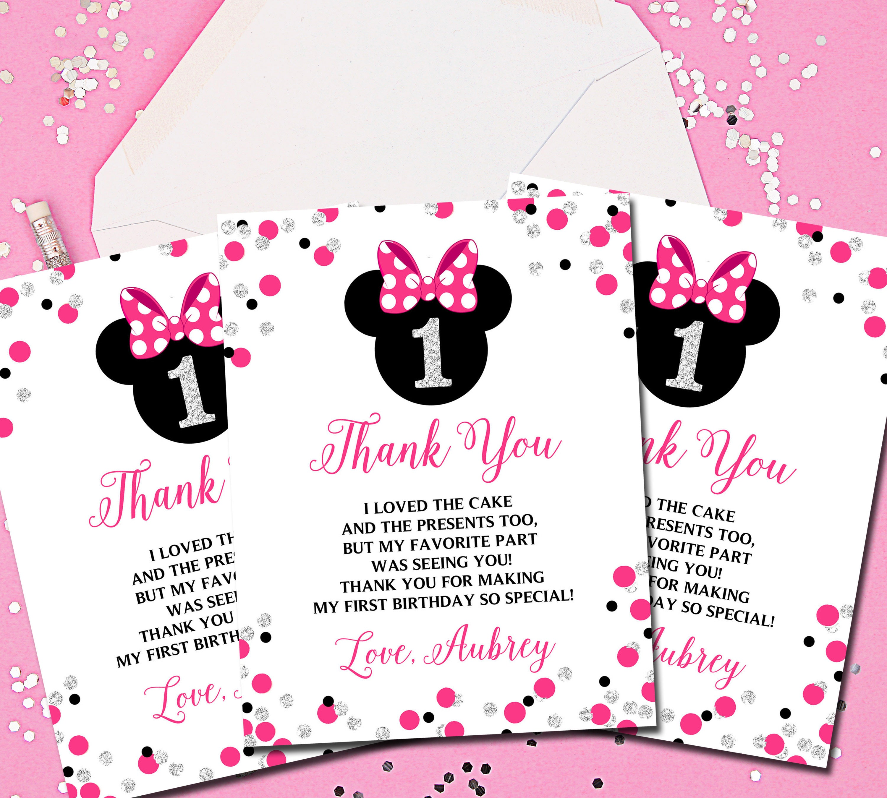 minnie mouse thank you cards minnie mouse thank you notes etsy