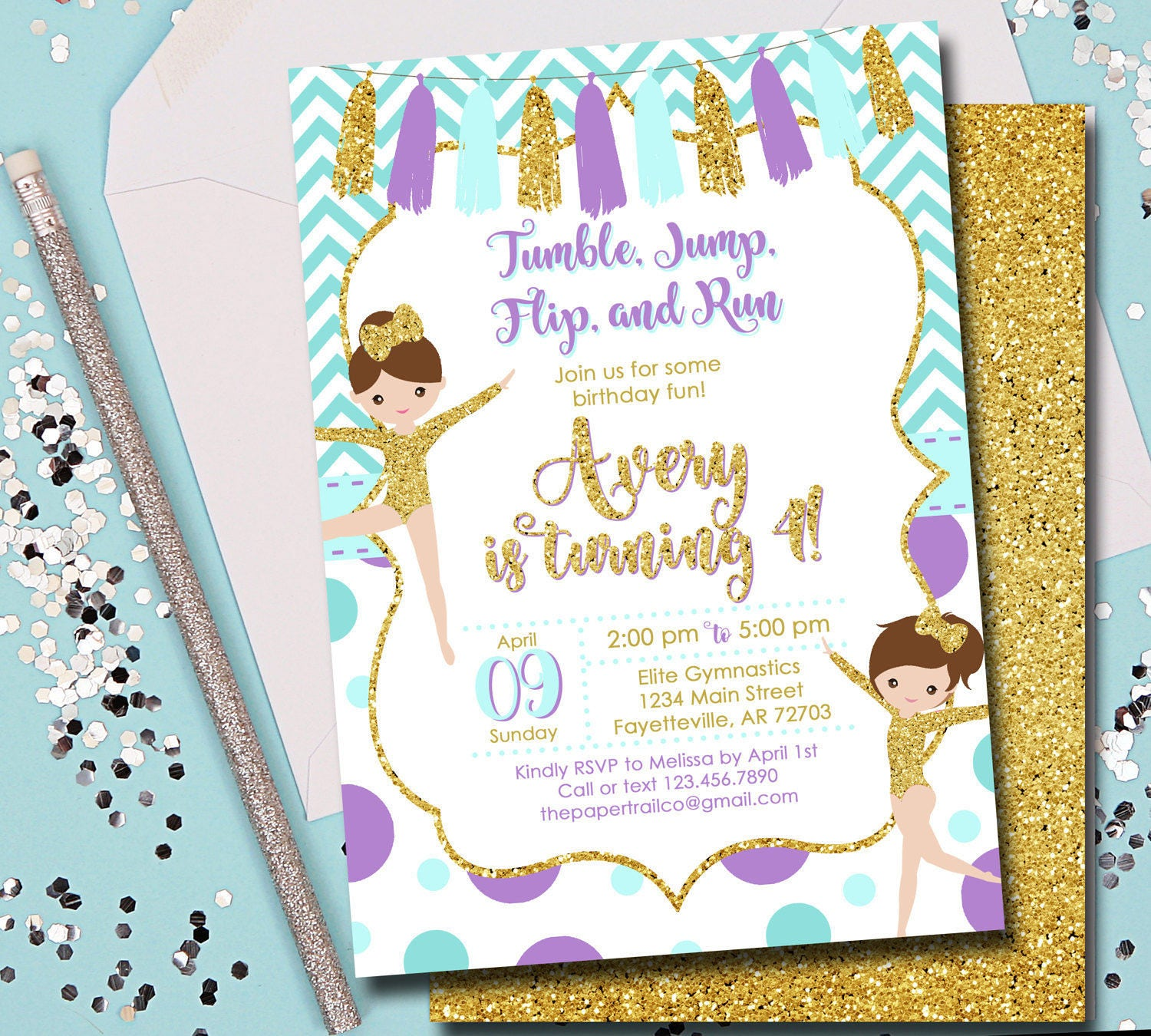 Gymnastics Birthday Invitation Gymnastics Pink and Gold | Etsy
